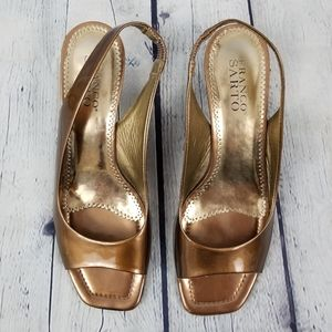 FRANCO SARTO | gold patent slingback wedge heels